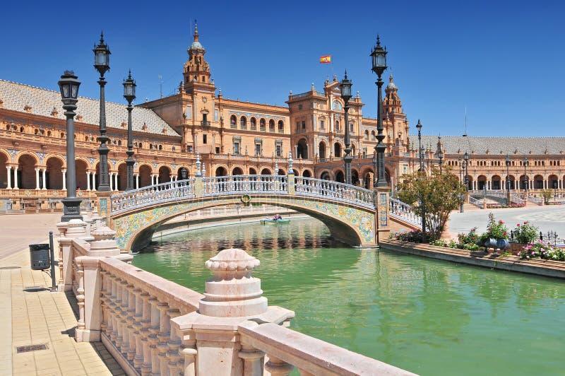 Placu De Espana Umieszczający d «Espagne, Sevilla, Andalucia, Hiszpania zdjęcia royalty free