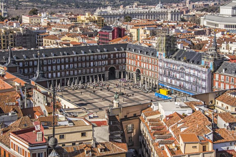 Placu mayor Madrid od above fotografia stock