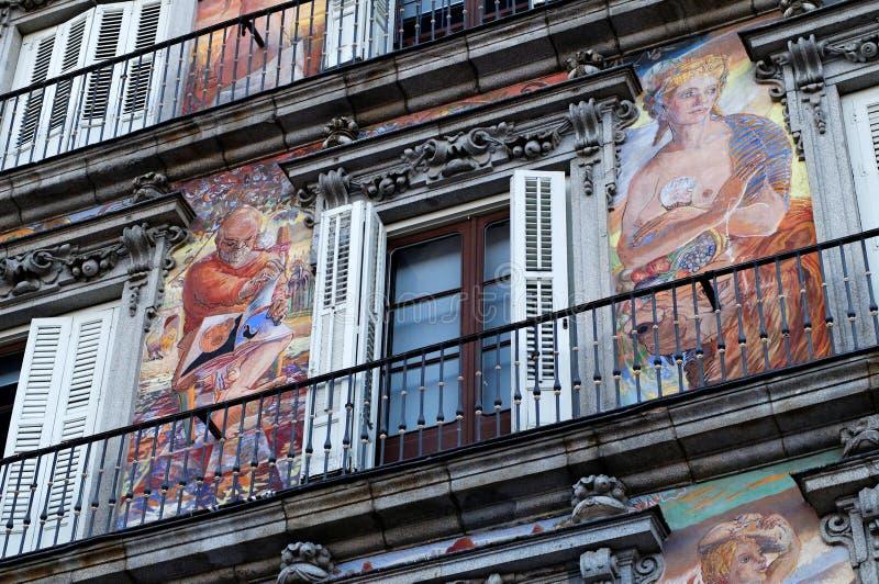 Placu Mayor malująca fasada zdjęcia royalty free