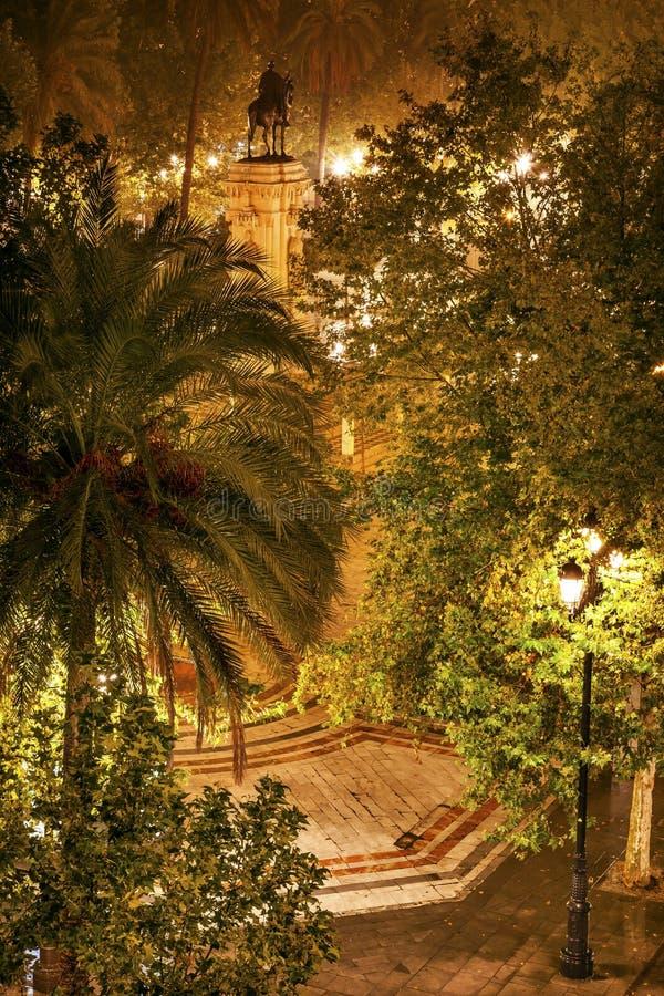 Placu Nueva Ferdinand statua Seville Hiszpania zdjęcia royalty free