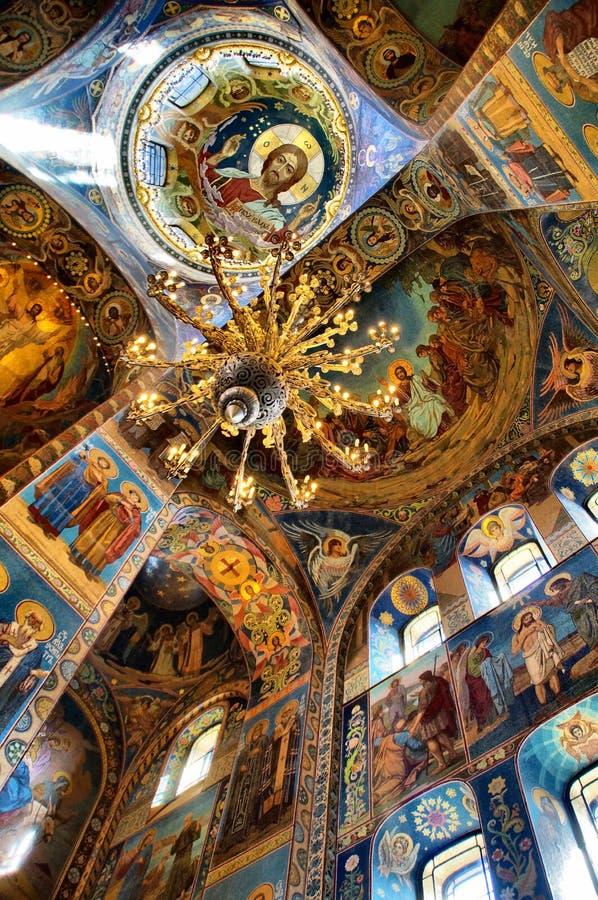 Plafond, église à St Petersburg Russie photo stock