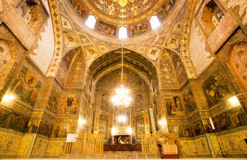 Plafond binnen de oude Kathedraal met fresko's royalty-vrije stock afbeeldingen