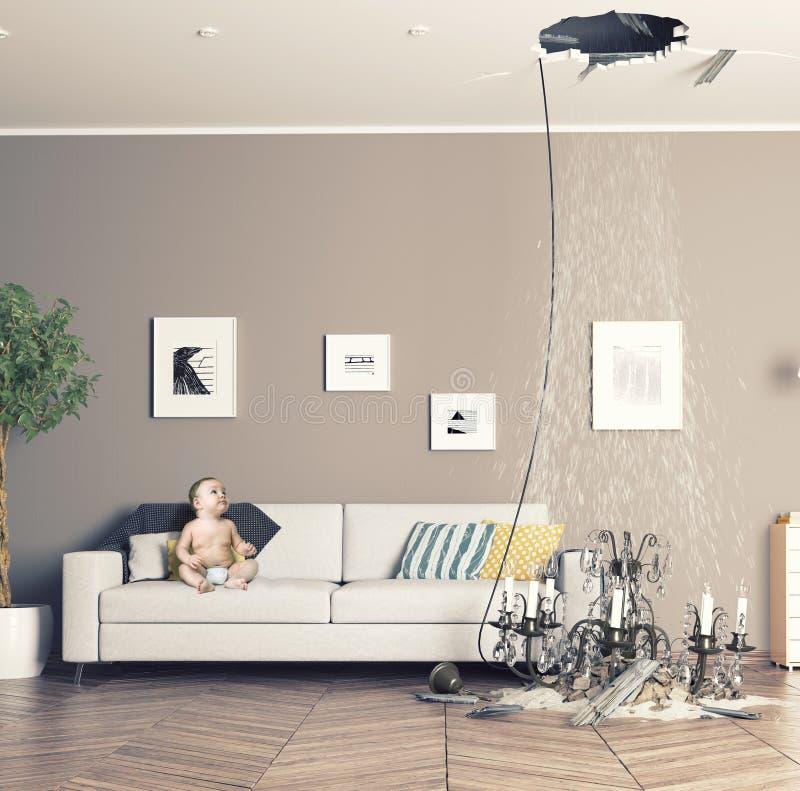 Plafond cassé dans la chambre photo stock