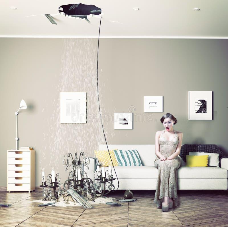 Plafond cassé dans la chambre illustration libre de droits