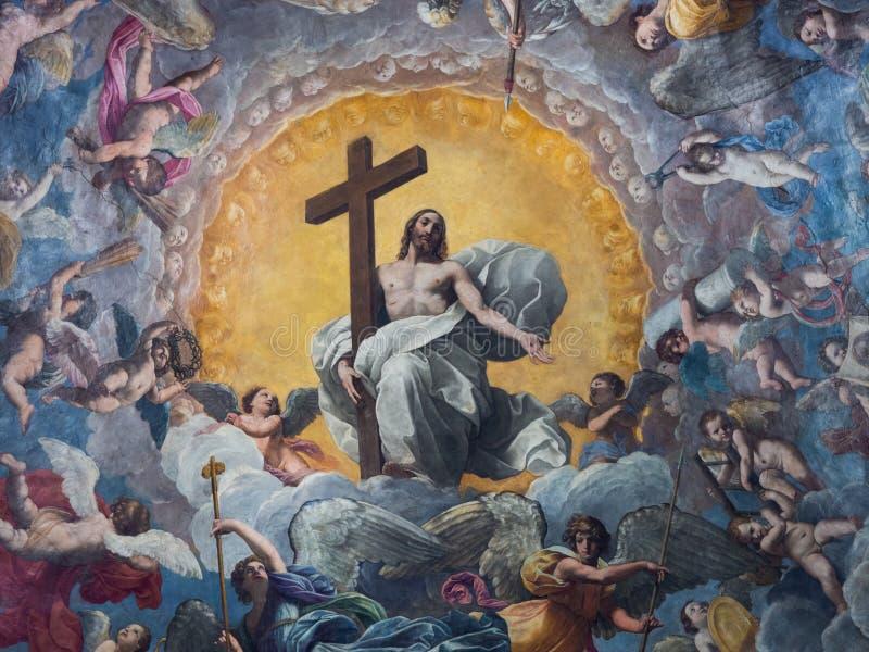 Plafond d'une chapelle de cathédrale peinte avec l'image de Jesus Ch image stock