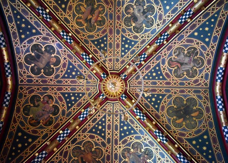 Plafond dans le château de Cardiff, Pays de Galles photographie stock libre de droits
