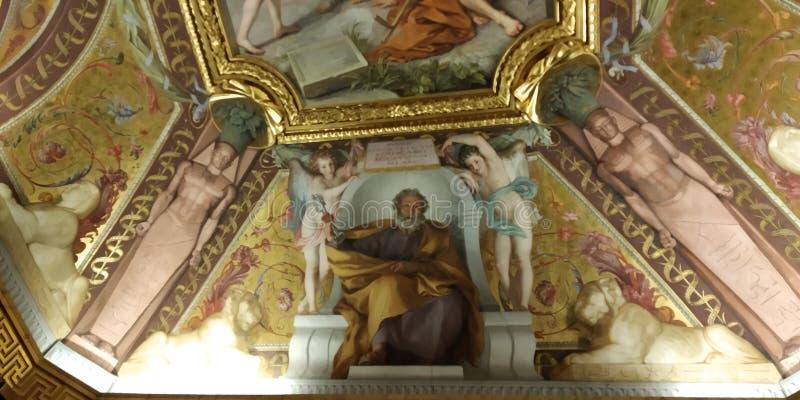 Plafond de couloir de musée de Vatican Détail de pièce photos stock