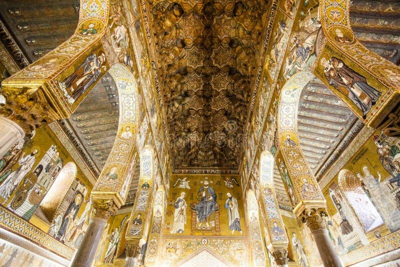 Plafond de la Capella Palatina Chapel à l'intérieur du dei Normanni de Palazzo à Palerme, Sicile, Italie images stock