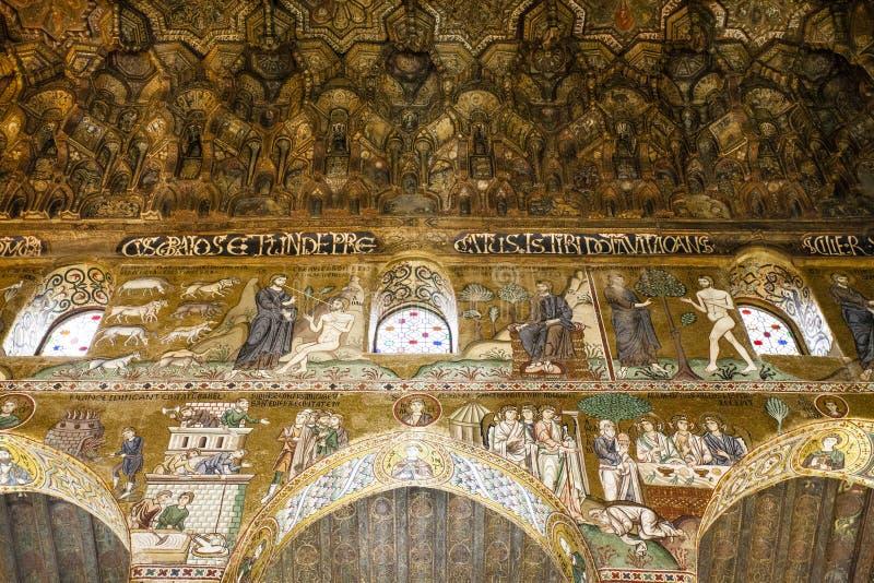 Plafond de la Capella Palatina Chapel à l'intérieur du dei Normanni de Palazzo à Palerme, Sicile, Italie image stock