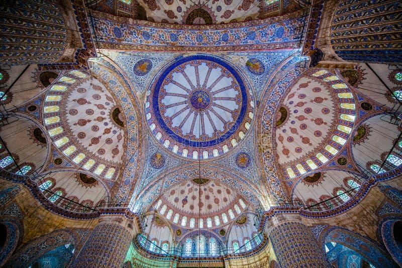 Plafond de la mosquée bleue image libre de droits