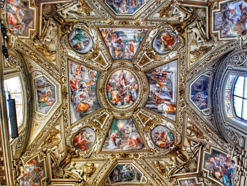 Plafond exquis de la galerie des cartes, musée de Vatican, Rome photo libre de droits