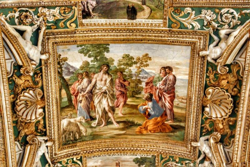 Plafond exquis de la galerie des cartes, musée de Vatican, Rome photos libres de droits