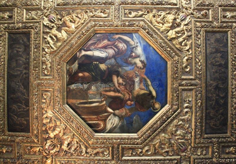 Plafond in het Paleis van de Doges in Venetië royalty-vrije stock fotografie