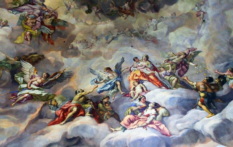 Plafond het schilderen in de godsdienstige versie stock illustratie