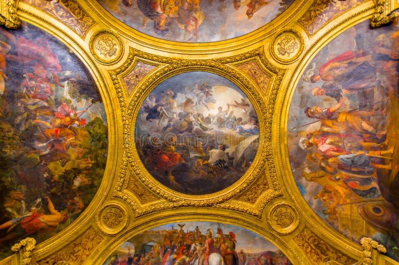 Plafond het schilderen in Salon DE Diane, Paleis van stock afbeeldingen