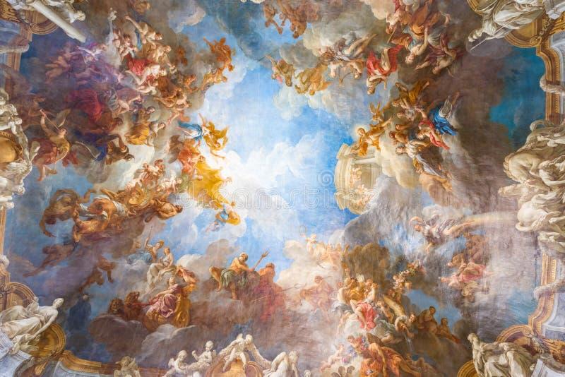 Plafond het schilderen van Paleis Versailles dichtbij Parijs, Frankrijk stock foto