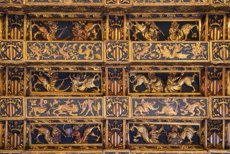 Plafond intérieur de La Lonja de la Seda photos stock