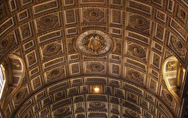 plafond Italie intérieure d'or Rome vatican photographie stock