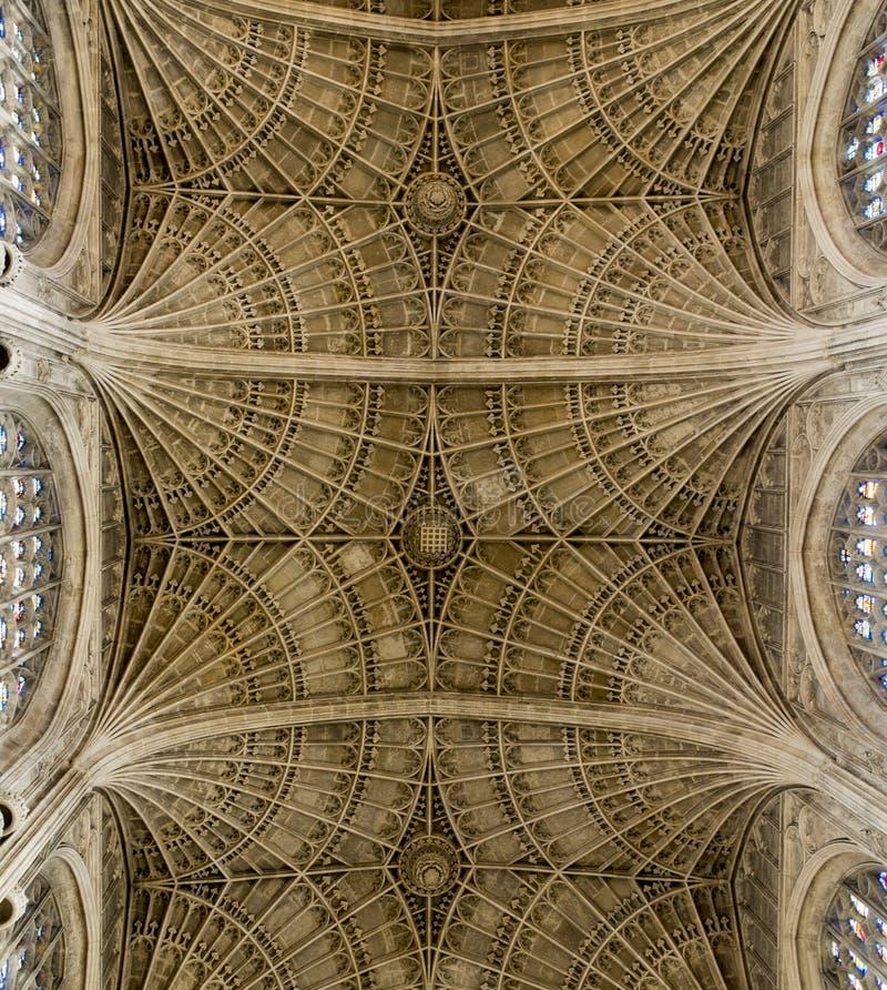 Plafond van de Kapel van de Konings` s Universiteit, Cambridge stock foto