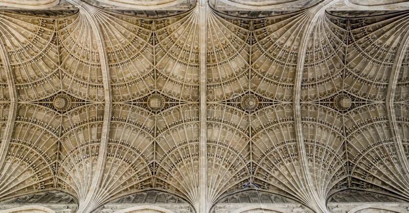 Plafond van de Kapel van de Konings` s Universiteit, Cambridge stock afbeeldingen