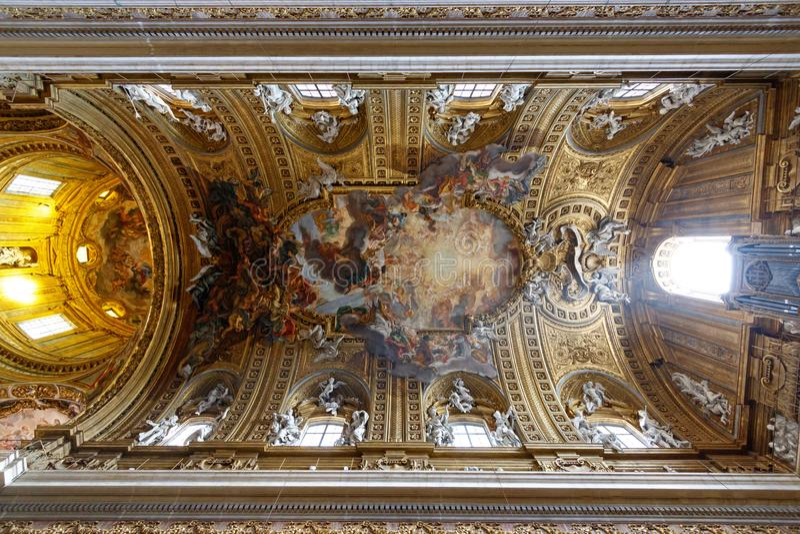 Plafond van de Kerk van Gesu, Rome, Italië royalty-vrije stock afbeeldingen