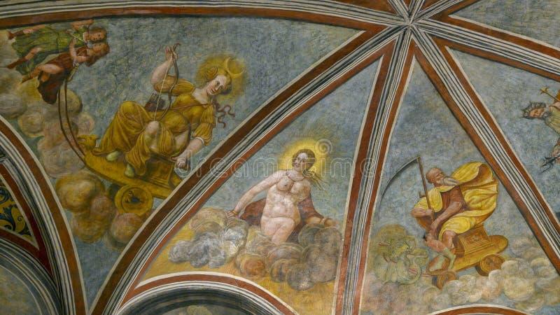Plafondfresko op de binnenkant van het Atellani-Huis, Museo Vigna Di Leonardo, Milaan stock foto