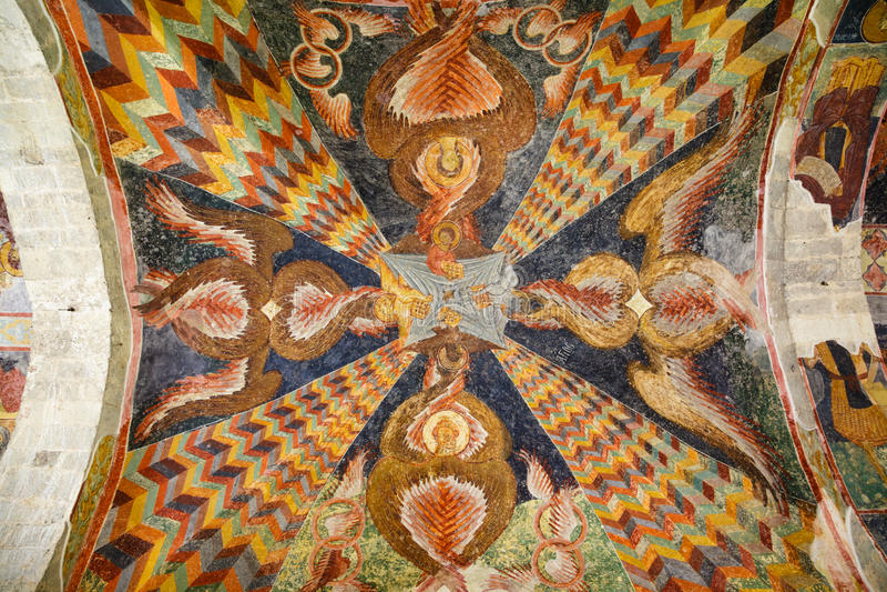 Plafondfresko's van Hagia Sophia Church in Trabzon, Turkije stock foto