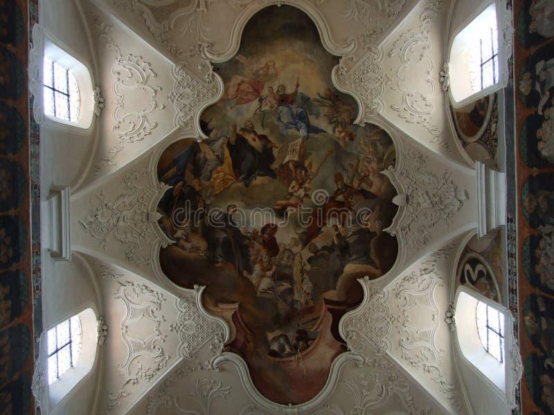 Plafondfresko van een grote kerk in de stad van Konstanz stock foto's
