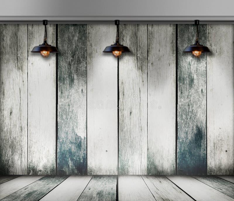 Plafondlamp in houten ruimte stock fotografie