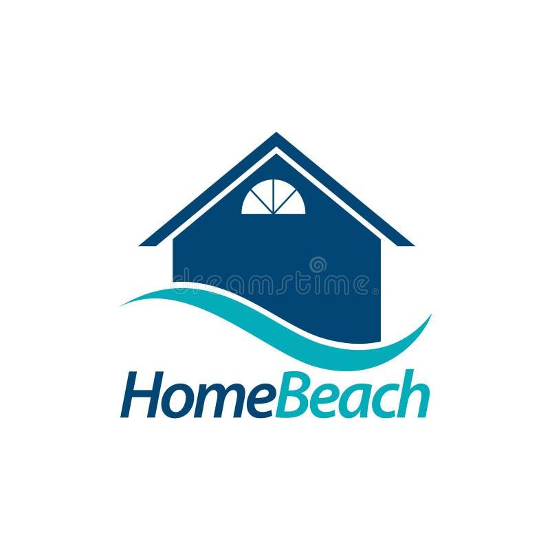 plage à la maison icône de maison avec le calibre bleu de conception de l'avant-projet de logo de vague illustration de vecteur