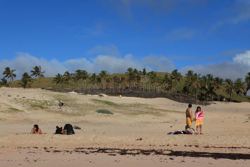 Plage Anakena d'île de Pâques photographie stock libre de droits