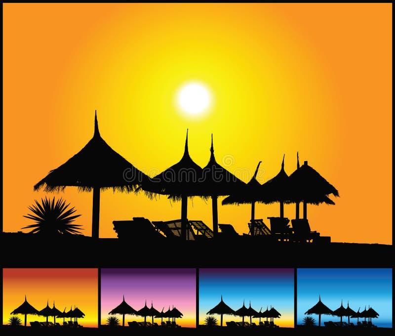 Plage au coucher du soleil illustration libre de droits