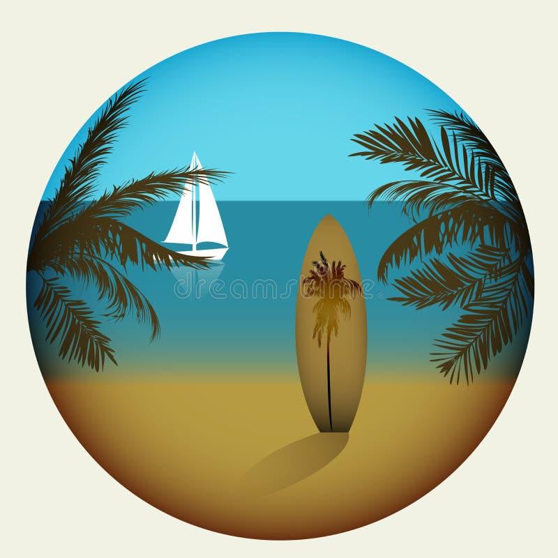 Plage avec les palmiers et la planche de surf illustration de vecteur