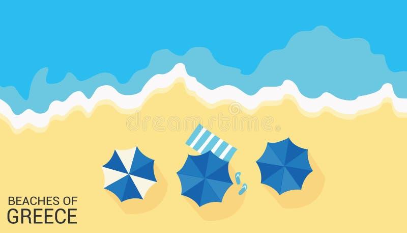 Plage avec les parapluies, le sable et la mer illustration libre de droits