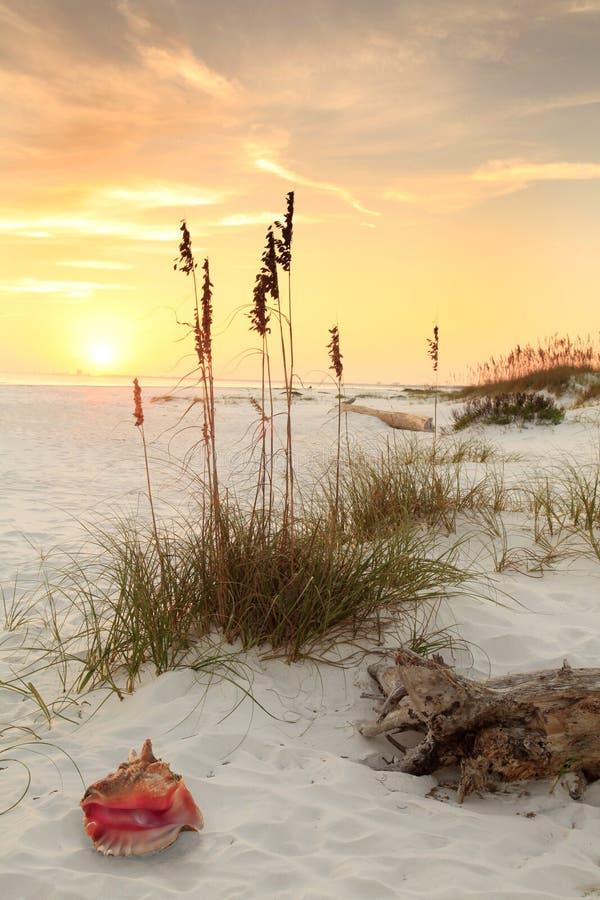 Plage blanche de sable au coucher du soleil images stock