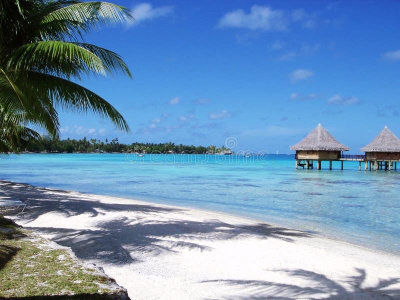 Plage blanche de sable et ciel bleu bleu images libres de droits