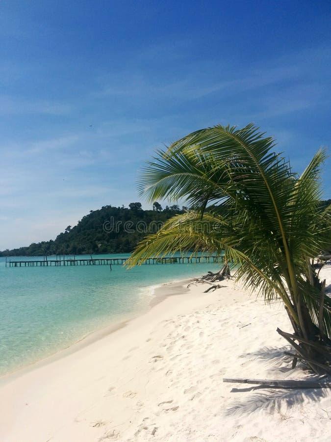 Plage blanche et mer azurée sur l'île de paradis de Koh Rong, Ca photo libre de droits