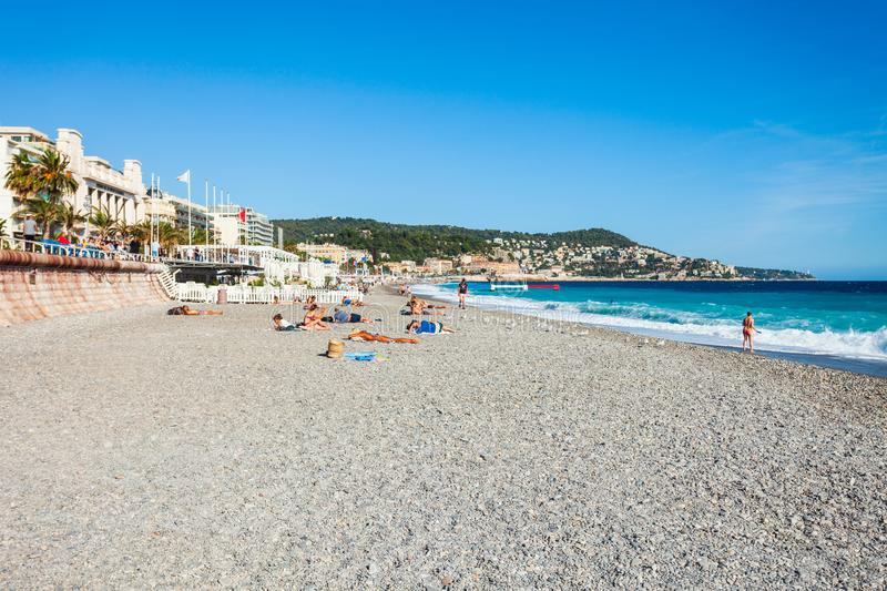 Plage Blue Beach in Nice, France. NICE, FRANCE - SEPTEMBER 25, 2018: Plage Blue Beach is a main beach in Nice city, Cote d\'Azur region in France stock photos