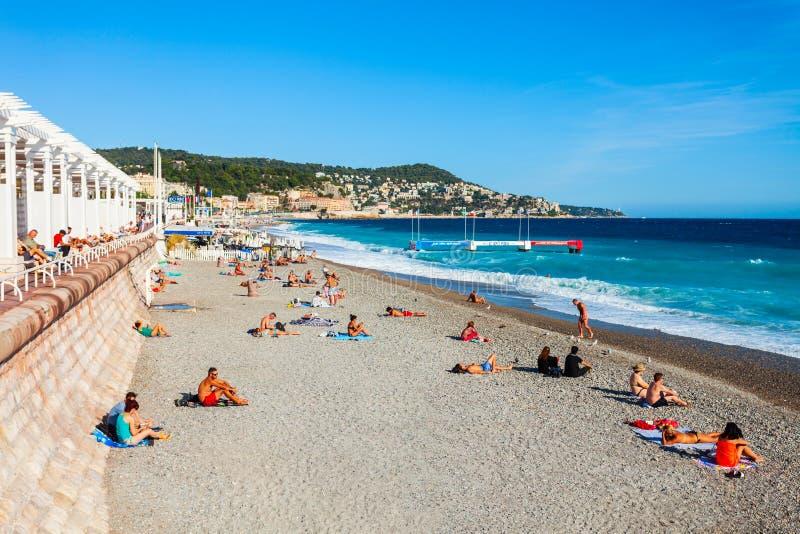 Plage Blue Beach in Nizza, Frankreich lizenzfreies stockfoto