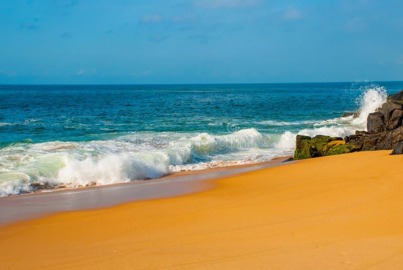 Plage br?silienne avec la mer ? sable jaune et bleue par temps ensoleill? brazil salvador beau chiffre dimensionnel illustration  images stock