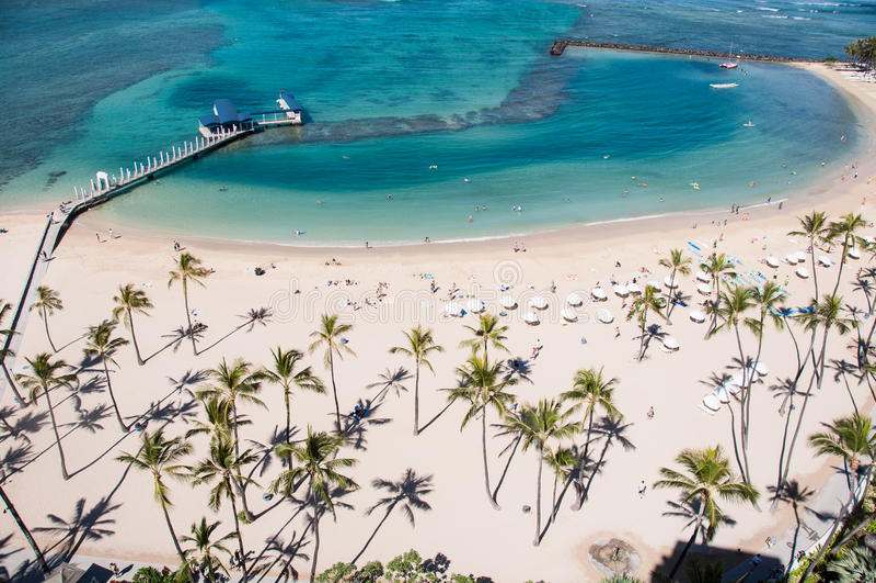 Plage célèbre de Waikiki images libres de droits