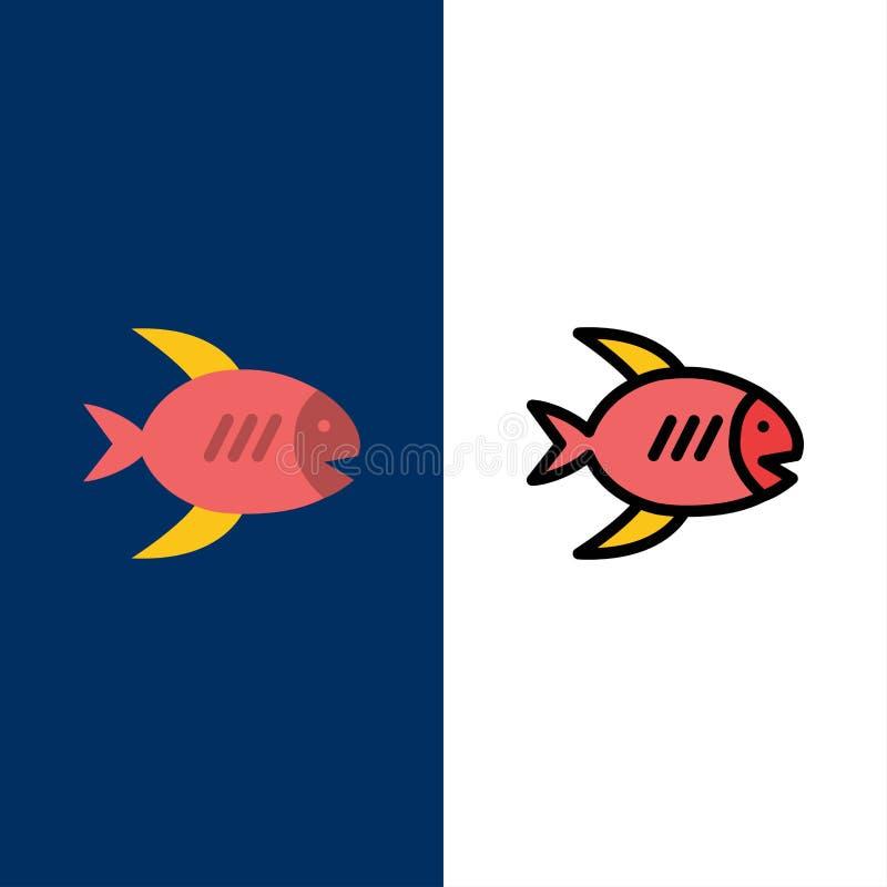 Plage, côte, poisson, icônes de mer L'appartement et la ligne icône remplie ont placé le fond bleu de vecteur illustration libre de droits