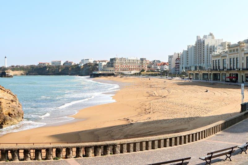 Plage centrale de Biarritz photos libres de droits