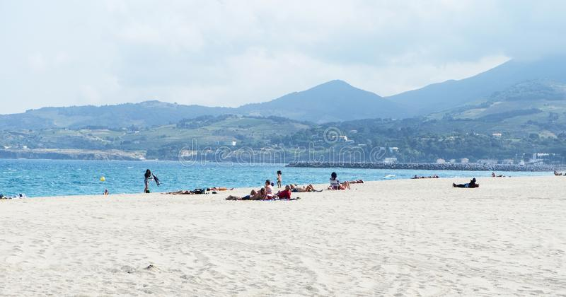 Plage Centre beach in Argeles-sur-Mer, France royalty free stock image