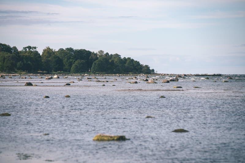 Plage confortable de la mer baltique avec les roches et le vegetat vert images libres de droits