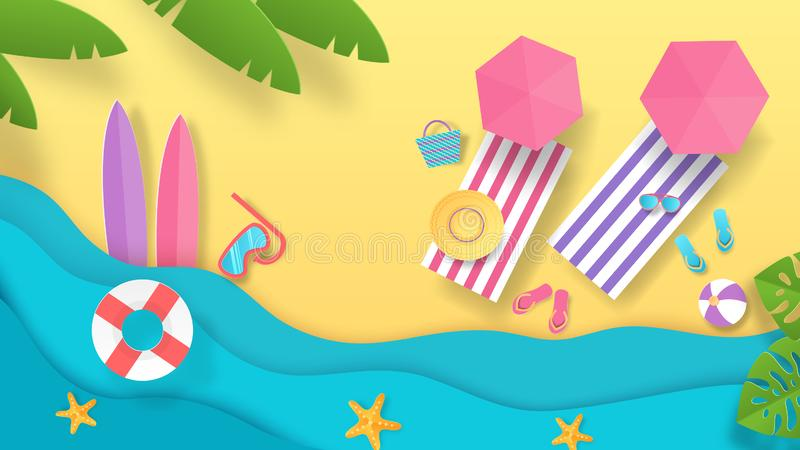 Plage coupée de papier d'été Fond de vacances avec la vue supérieure des parapluies et du bord de la mer de vagues Affiche de vac illustration libre de droits