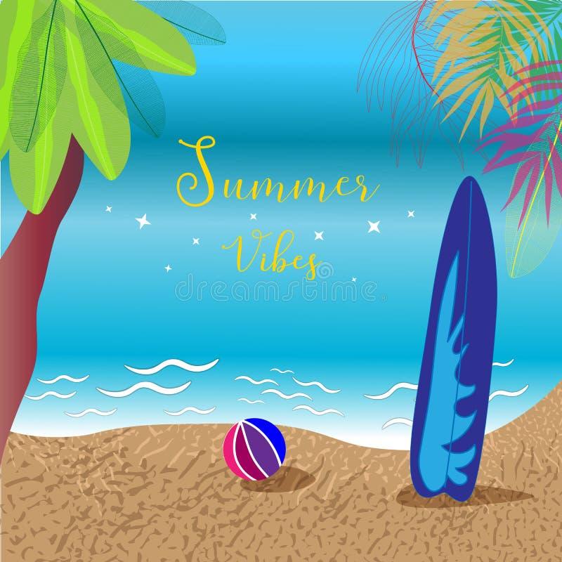 Plage d'été avec la boule et planche de surf sur le sable illustration de vecteur
