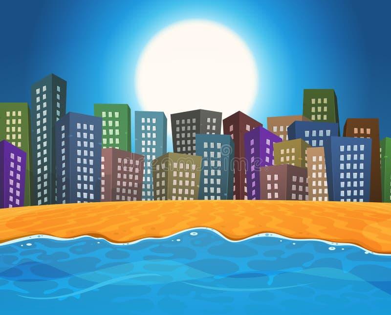 Plage d'été par la ville illustration de vecteur