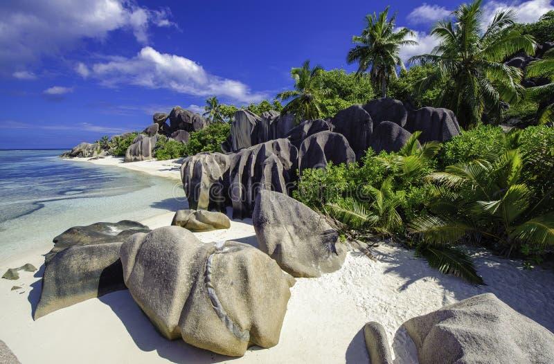 plage d'argent de source d'anse, Seychelles 3 photo libre de droits