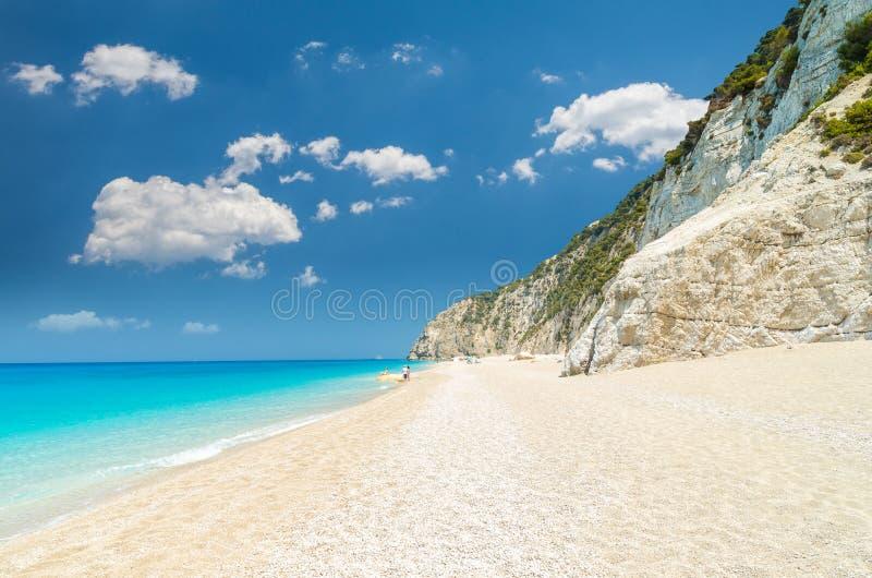 Plage d'Egremni, île de Leucade, Grèce photo stock